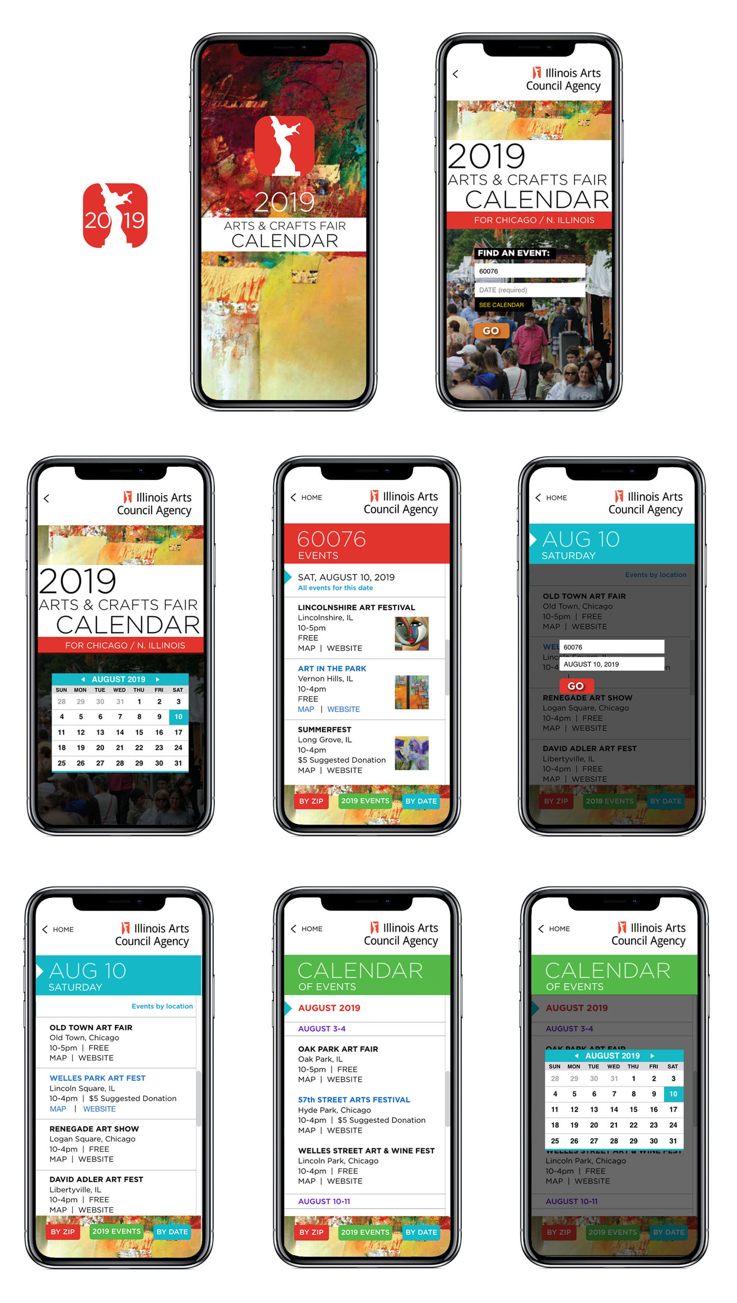 art fair events app UX UI design